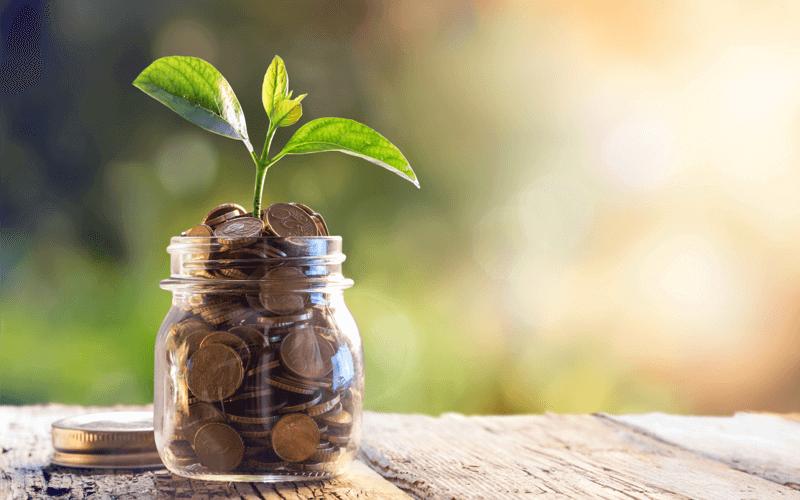 Money in a money jar